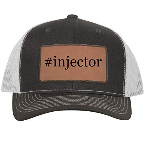 #Injector - Leather Hashtag Dark Brown Patch Engraved Trucker Hat, Grey-White, One Size