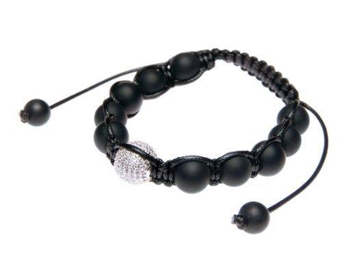 Andante-Stones Bracciale SHAMBALA di Ottima qualità Dimensione Regolabile 16-22 cm Color Nero Opaco Completo di Perlina Pavé in Argento 925 e zircone CZ + Sacchetto di Organza