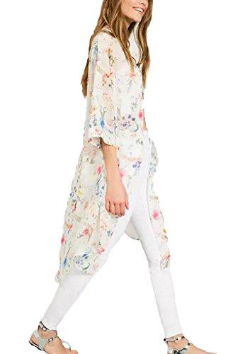 Minetom Mujeres Verano Impreso Floral de la Gasa Mantón Kimono Cardigan Tops Cover Up Mujeres Floral Flor borlas mantón Kimono Blusa Escudo Cardigan Tops Blanco ES 42