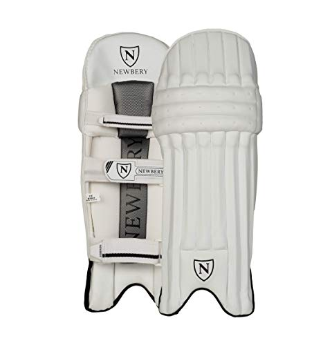 Newbery N-Series Right-Handed Cricket Batting Pads, Senior, White/Silver