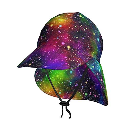 hutaz Baby Kleinkind Jungen Hut abstrakte Feder UPF 50+ UV-Strahlen Sonnenschutz Strandhut mit Nackenklappe & Kordelzug, Schwarz , Medium