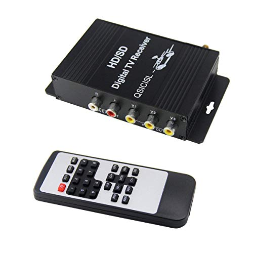 QSICISL HD Car Mobile TV Tuner ISDB-T Digital 4 Video Output TV Receiver Box with Antenna for Brazil Chile Argentina Venezuela Peru South America