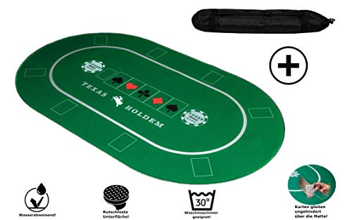 KrockaZone - XXL Profi Pokermatte 100 x 60cm + Tragetasche - Unterlage Pokertisch/ Poker Tischauflage/ Pokerteppich/ Pokertuch