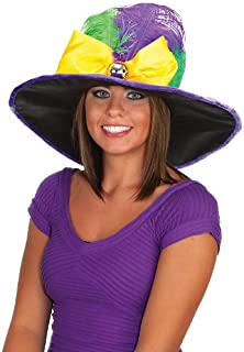 Women's Mardi Gras Hat with Bow Tie and Feathers