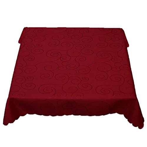 Mantel rectangular con adornos de zarcillos, no necesita planchado, tamaño a elegir, sugerencia de mantel (rectangular 110 x 140 cm), color rojo vino