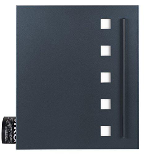 Wandbriefkasten mit Zeitungsfach anthrazit-grau (RAL 7016) MOCAVI Box 120 Postkasten Edelstahl-Design, modern, groß, hochwertig, deutsche Markenqualität