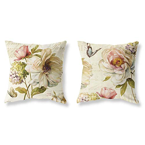 Pack of 2 Decorative Throw Pillow Covers Sets 18x18 Inch Summer Theme Light Yellow Butterfly Floral Printing Pillowcases Square Outdoor Cushion Cover Pillows Covers for Home Decor Sofa Car Bedroom