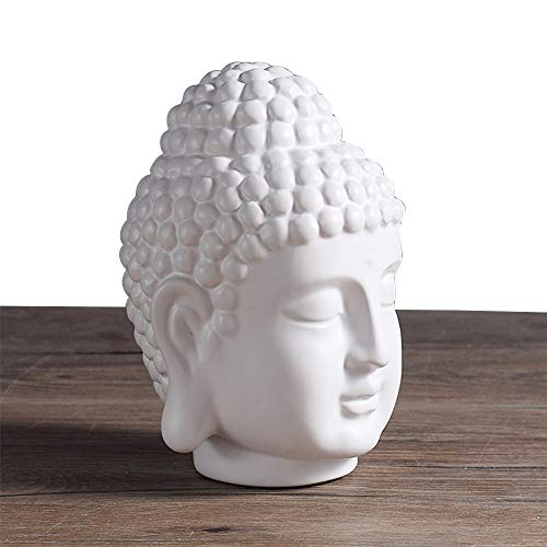 Zen Buddha Head Statue, Medium Temperature Ceramic White Glaze Process, Smooth Surface, Garden Yoga Meditation, Home Living Room Office Decor