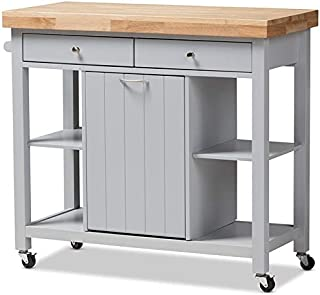 Baxton Studio Hayward Kitchen Cart in Light Gray