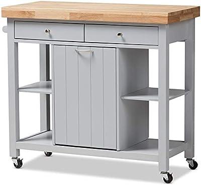 Amazon.com: Baxton Studio Denver Modern Kitchen Cart/Island with Butcher Block Top, Natural ...