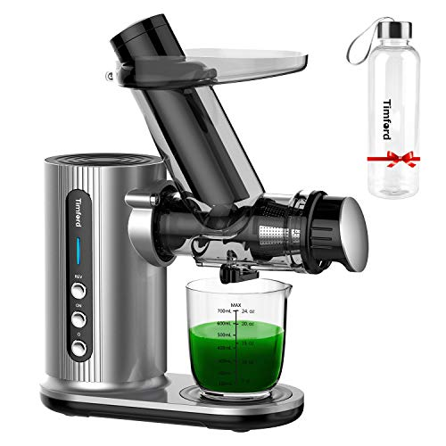 Juicer Machines,Timford Slow Juicer with Large Feed Chute,Cold Press Juicer with 2-Speed Modes, Quiet Motor,Reverse Function for Fruits and Vegetables, Easy to Clean, Sliver