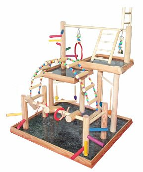 BirdsComfort Small Parrot Play Gym, Bird Activity Center, Wood Tabletop Play Station for Birds,...