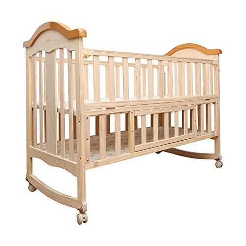 Luvlap C-70 Baby Wooden Cot, Baby Cradle, Baby Crib, with Mosquito Net, Pinewood Furniture, for New Born to 24 Months, Without Mattress