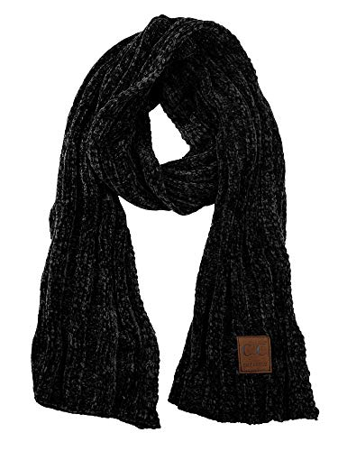 C.C Women's Ultra Soft Chenille Ribbed Thick Warm Knit Shawl Wrap Scarf-Black