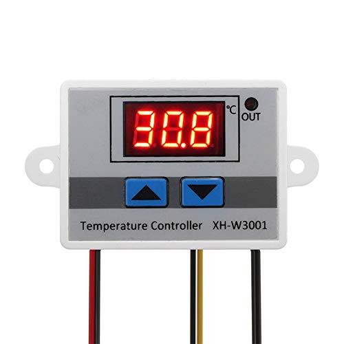 ARCELI Módulo Controlador de Temperatura LED Digital, Interruptor de termostato XH-W3001 con sonda Impermeable, termostato de enfriamiento de calefacción programable (12V 10A 120W)