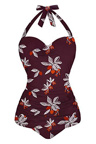 Angerella Burgundy Vintage One Piece Swimsuits for Women Halter Push Up Swimwear, XL,Floral Wine Red