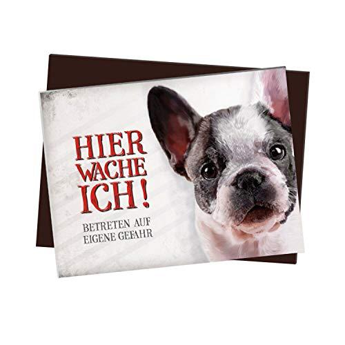 Kühlschrankmagnet mit Französische Bulldogge Motiv und Spruch: Betreten auf eigene Gefahr - Hier wache ich!