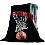 HERBED Basketball Throw Fleece Blanket for Bed Couch Sofa Cool 3D Basketball with Hoop Lightweight Soft Warm Premium Plush Fleece Blanket for Spring/Summer/Autumn Travel Camping 40×50inch