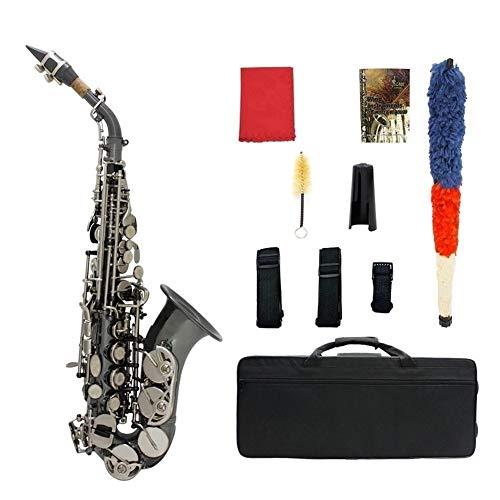 Bb-Sopransaxophon-Saxophon Messing Material schwarz-beschichtet Holzblasinstrument mit Tragetasche Leicht zu tragen ( Color : A )