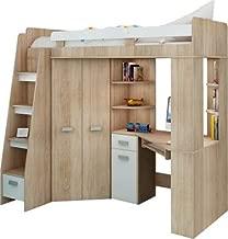 Lit Mezzanine / Lit superposé - TOUT EN UN. Escalier gauche - Ensemble pour enfants. Lit superposé, bureau, armoire, étagères. (Chêne Sonoma / Blanc)