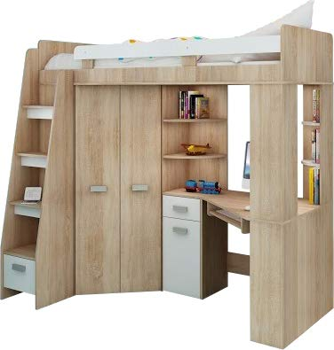 Hochbett/Etagenbett/Entresole – alle in einer links Ablesen Treppen – Kinder Möbel Set. Bett, Kleiderschrank, Regal, Schreibtisch Sonoma Oak - White