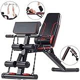 Banco de pesas ajustable RJJBYY, 5 en 1, plegable para sentarse, inclinarse, banco plano, inclinación/declinación FID para gimnasio en casa
