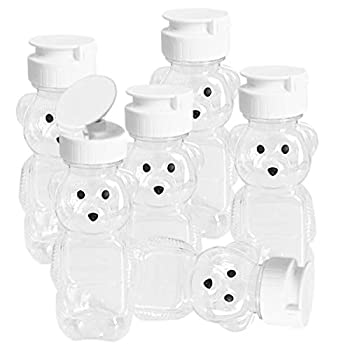 Hslife 6 Pack 8oz 240ml  Small Bear Cups Cartoon Therapy Sippy Bottles Clear Small Bear Bottles White Lid