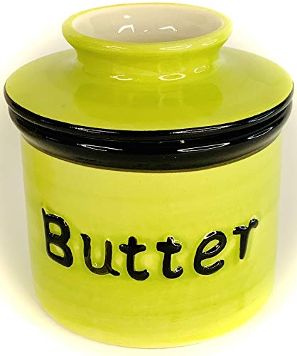 BonCera Butterschale aus Steingut, handgefertigte Porzellan-Butter hält im Wasser – Französischer Butterdosenhalter