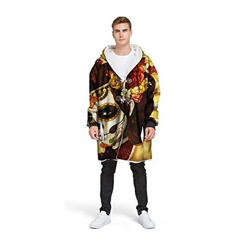 Manta con capucha de cráneo de azúcar 3D personalizada con manga de invierno espesando bocina chaqueta de botón para hombres Manta portátil Halloween (Color : Type 3, Size : 4XL)