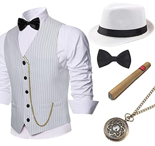 Coucoland - Ensemble costume à gilet pour homme, au style des années 1920 avec chapeau de gangster Panama - Gilet classique avec nœud papillon pré-noué, montre de poche et cigare factice -  - M