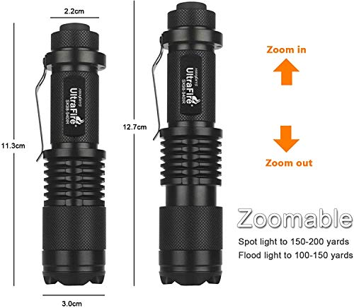 ULTRAFIRE Mini IR Torch 940nm Infrared Illuminator Zoomable LED Flashlight, Night Vision Adjustable Focus Tactical Torch, SK98-940IR