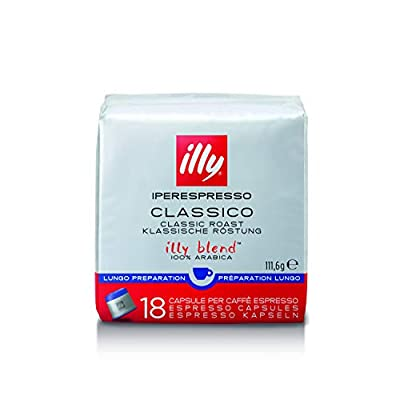 illy Coffee, Lungo Coffee Capsules, Medium Roast, 100 Percent Arabica Coffee Beans, 18 Capsules