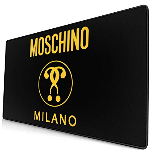 Mos-Chino Mi-Lano Yellow Logo Large Game Mouse Pad, Non Slip Rubber Base, Office and Homemouse Pad 15.8x29.5 in