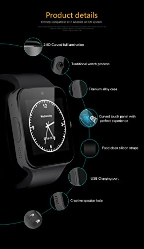 indigi GT8 Gear 2-in-1 SmartWatch & Phone + (Compatible w/Bluetooth) + Optional SIM + SMS Notify (Android or iOS Compatible)