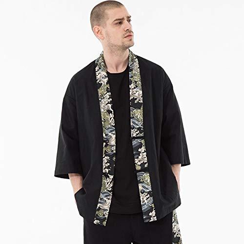 GODVC Japonés Streetwear Hombres Chaqueta de Bombardero Kimono japonés Tradicional Harajuku Chaqueta Masculina (Color : 1, Size : XL)