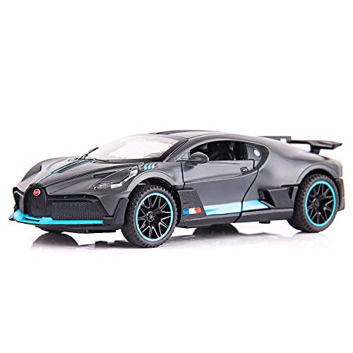 BDTCTK 1/32 Scale Bugatti Divo Car Model Toy Zinc Alloy Casting Pull Back Vehicles with Sound and Light Toys for Kids Boys and Girls Gifts(Gray)