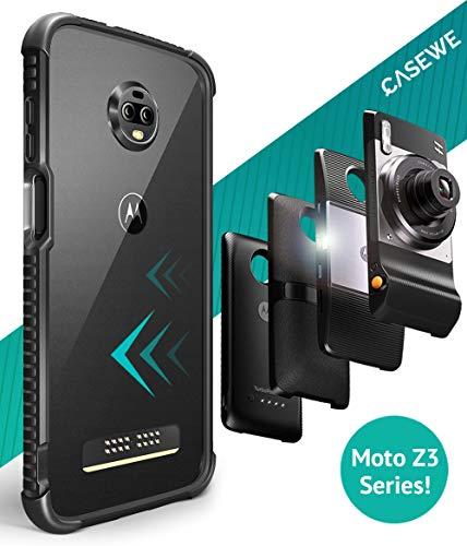 Casewe - Motorola Moto Z3 Play TPU FlexibelHülle Bumper Case Schutzhülle/Kompatibel mit Allen Moto Mods - Matt Schwarz
