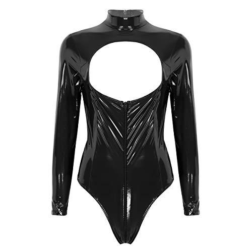 inlzdz Mujer Sexy Body de Charol Wetlook Manga Larga Bodysuit Metálico Brillante con Cremallera Mono Atractivo con Pecho Abierto Negro Medium