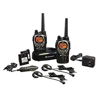 Midland - GXT1000VP4, 50 Channel GMRS Two-Way Radio - Up to 36 Mile Range Walkie Talkie, 142 Privacy Codes, Waterproof, NOAA Weather Scan + Alert (Pair Pack) (Black/Silver) from Midland