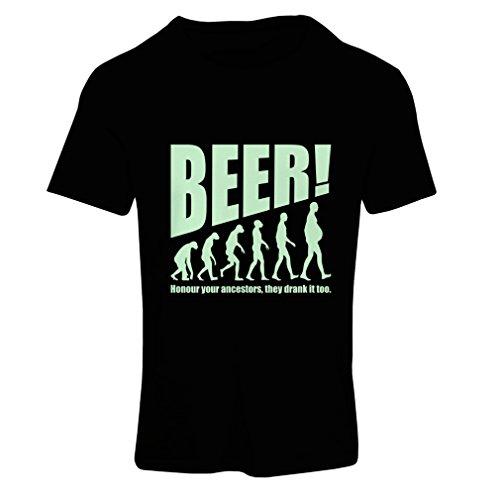Frauen T-Shirt Die Beervolution - einzigartige lustige sarkastische Geschenkideen für Bierliebhaber, trinkende Evolution (Large Schwarz Fluoreszierend)
