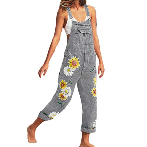 ORANDESIGNE Jeanslatzhose Damen Latzhose Jeans Lange Hose Denim Overall Jumpsuit Playsuit Jeans Vintage Loose Fit Hoseanzug Romper B Grau XXX-Large