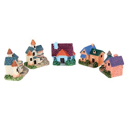 Sharplace Set / 5pcs Mini Ferienhaus Villa Haus Deko für Puppenstube Mikro Landschaft Zubehör