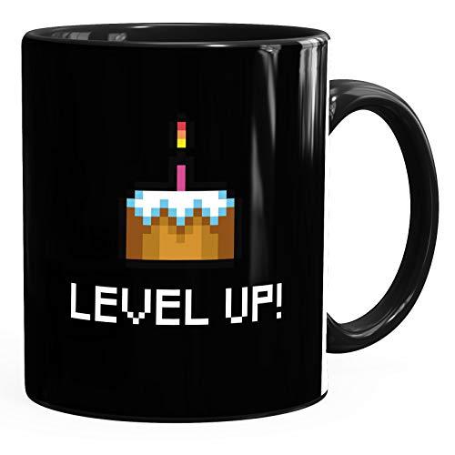 Kaffee-Tasse Geburtstag Level Up Pixel-Torte Retro Gamer Pixelgrafik Geschenk Arcade MoonWorks® schwarz unisize