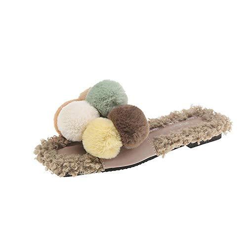 Dameshuisschoenen, katoen, slipper, mix van haarkleur en een lekking van bontballen, opening binnen en buiten, voor scholieren en vrije tijd