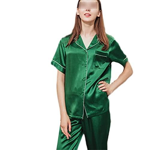 Pijama para mujer, de manga corta, de verano, de seda, para cumpleaños, fiestas, color verde 4XL