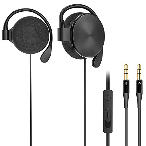 Computer Earphones, Clip-on Headphones, for Desktop Computers, laptops, with Microphone Noise Reduction and Volume Control, with 3.5 mm Double Plug (Black)