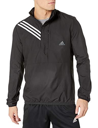 adidas mens Run It 3-Stripes Anorak Black Large