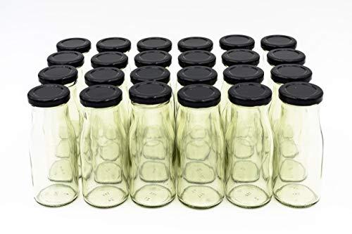 24 Leere Flaschen, kleine Glasflaschen 150 ml weiß TO43 mit schwarzen Verschluss. Kleine Flaschen zum Befüllen von Milchflaschen, Saftflaschen, Schnapsflaschen klein oder als Vasen Deko benutzbar