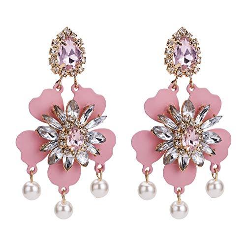 VIWIV Pendientes de flores europeos y americanos exagerados pendientes de flores de diamantes de moda otoño multicapa pendientes bohemios con joyas de estilo INS para mujer (color: rosa)