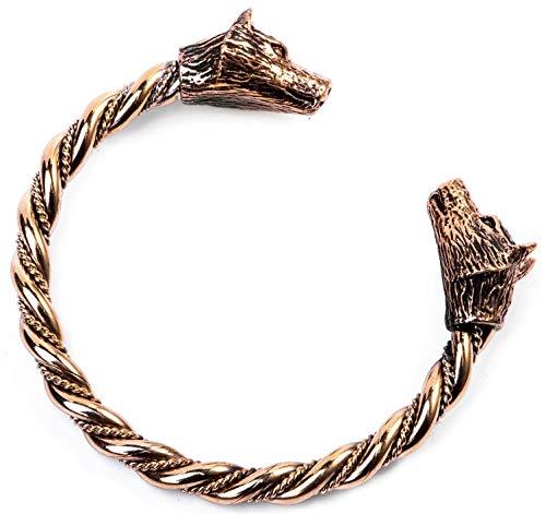Windalf Frauen Vikings Armreif JANA Ø 5.6 cm Odins Wölfe Vikings Armreif Handgeschmiedet Hochwertige Bronze